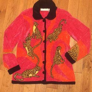 Vintage oversized sequin cheetah cardigan